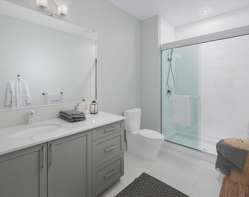 Interior shot of grey bathroom