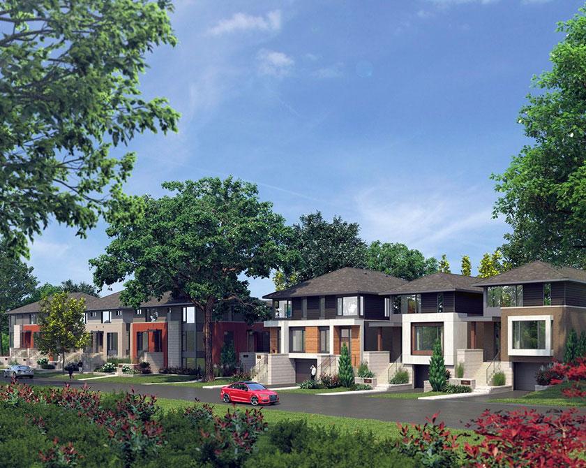 Rendering of street of Uniform Developments homes