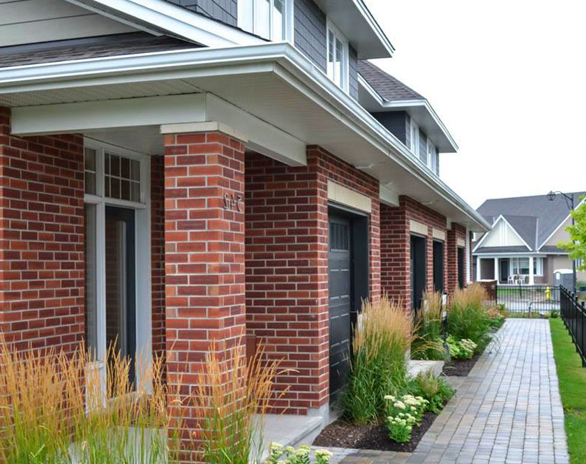 Row of townhome exteriors